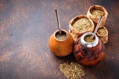 Yerba mate tea with calabash and bombilla. Traditional Argentinian drink Royalty Free Stock Photos