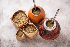 Yerba mate tea with calabash and bombilla. Traditional Argentinian drink Stock Image