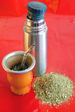 Yerba mate with thermos jug. Yerba mate is a traditional and common drink in Argentina, Uruguay, Paraguay and the south of Brazil royalty free stock photo
