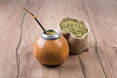 Yerba mate in a traditional calabash gourd Stock Images