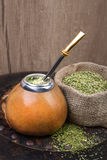 Yerba mate in a traditional calabash gourd Stock Photography