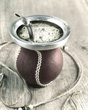 Yerba mate in a traditional calabash gourd Royalty Free Stock Image