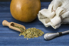 Yerba mate with wooden spoon, bombilla, linen bag and gourd matero Royalty Free Stock Photos