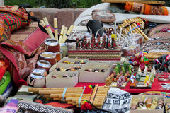 Yerba matte cups, flute and souvenirs at south American market Stock Image