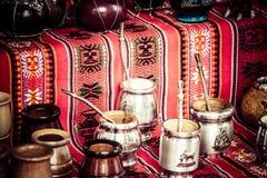 Yerbapartner in lokale markt in Argentinië. Royalty-vrije Stock Foto