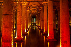 Yerebatan - Istanbul. Underground basilica cistern. Byzantine water reservoir build by Emperor Justinianus - Turkey, Istanbul Royalty Free Stock Image