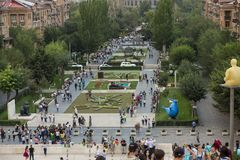 YEREVAN, ARMENIË - SEPTEMBER 21, 2017: Yerevan Cascade en g Royalty-vrije Stock Afbeelding