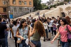 YEREVAN, ARMENIË - SEPTEMBER 21, 2017: Yerevan Cascade en g Royalty-vrije Stock Fotografie