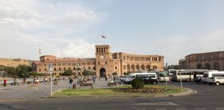 Yerevan, Armenië - September 17, 2017: Het Vierkant van de republiek in Yereva stock foto