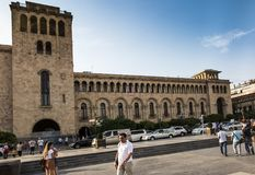 Yerevan, Armenië - September 17, 2017: Het voortbouwen op Republiek Squa Royalty-vrije Stock Fotografie