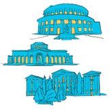 Yerevan Armenia Colored Landmarks Royalty Free Stock Image