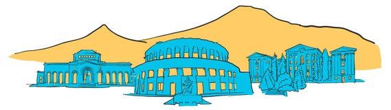 Yerevan Armenia Coloured Panorama Royalty Free Stock Photo
