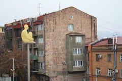 Yerevan, Armenia - December 04, 2018: Jaume Plensa Spain, Poets series: Love, Hate, Spirit. View over cascade stairs and. Tamanyan park in Yerevan, the capital stock photography