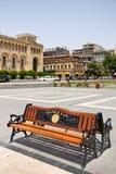 YEREVAN ARMENIA-JUNE, 24: Bänk med inscriptioen Royaltyfri Bild