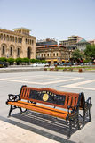 YEREVAN,ARMENIA-JUNE, 24:Bench with the inscriptio Royalty Free Stock Image