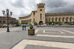 YEREVAN, ARMENIA 2 MAGGIO: Quadrato della Repubblica e Ministero di straniero Fotografia Stock