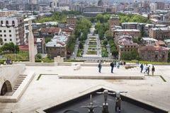 YEREVAN ARMENIA, MAJ, - 02, 2016: Widok Yerevan od kaskady, Tr Zdjęcie Royalty Free