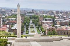 YEREVAN ARMENIA, MAJ, - 02, 2016: Widok Yerevan od kaskady, Tr Obraz Stock