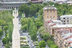 YEREVAN ARMENIA, MAJ, - 02, 2016: Widok Yerevan od kaskady, Tr Obrazy Royalty Free