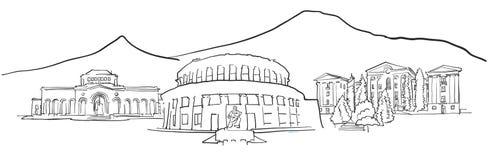Yerevan Armenia Panorama Sketch Stock Photos