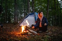A girl camping stock images