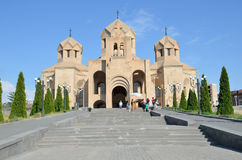 Yerevan, Armenia, September, 06, 2014. Armenian scene: People walking near cathedral of Gregory the Illuminator in Yerevan Royalty Free Stock Images