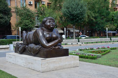 Yerevan, Armenia, September, 06, 2014. Armenian scene: Urban sculpture in Yerevan Royalty Free Stock Images