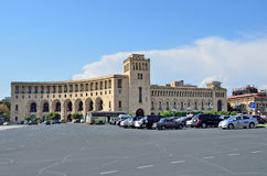 Yerevan, Armenia, September, 06, 2014. cars near the building of the Ministry of foreign Affairs of Ar royalty free stock photography