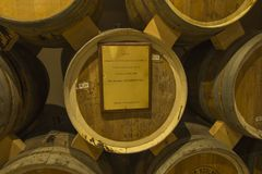 YEREVAN, ARMENIA -21 September 2017: Noy Ararat Brandy factory. Museum visit with congac tasting. The barrel offered to the President of Poland, Aleksander Stock Photo