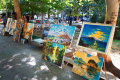 Yerevan, Armenia - 26 September, 2016: Paintings for sell in Martiros Saryan park. Vernissage. Paintings Stock Photo
