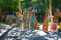 Yerevan, Armenia - 26 September, 2016: Paintings for sell in Martiros Saryan park. Vernissage Royalty Free Stock Photo