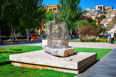 Yerevan, Armenia - 26 September, 2016: The sculpture, Jaume Plensa, Spain, Shadows, located in Cafesjian Art Center. Garden, Cascade Modern Art Museum royalty free stock photo