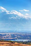 Yerevan, Armenia - 26 September, 2016: A view of Yerevan from Cascade complex in sunny day and view on Ararat. Yerevan, Armenia - 26 September, 2016: A view of Royalty Free Stock Photo