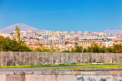 Yerevan, Armenia - 26 September, 2016: A view of Yerevan from Genocide memorial in sunny day and view on Ararat. Yerevan, Armenia - 26 September, 2016: A view of Royalty Free Stock Photos