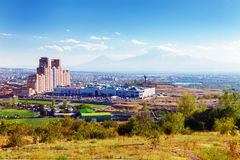 Yerevan, Armenia - 26 September, 2016: A view of Yerevan from Genocide memorial in sunny day and view on Ararat. Yerevan, Armenia - 26 September, 2016: A view of Stock Image