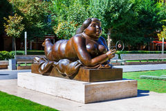 Yerevan, Armenia - 26 September 2016: Woman Smoking a Cigarette statue in Tamanian street near Yerevan Cascade Complex Royalty Free Stock Images