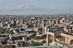 Yerevan Armenien, i bakgrunden av Mount Ararat Royaltyfri Fotografi
