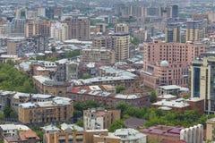 YEREVAN ARMENIEN - MAJ 02, 2016: Sikt från kaskaden som är gian Arkivbilder