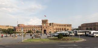 Yerevan Armenien - September 17, 2017: Republikfyrkant i Yereva Arkivfoto