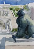 Yerevan Big Cascade fountain with cat sculpture on front view, o. Riginal watercolor painting landscape Stock Photo
