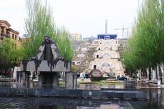 Yerevan city center in poor weather stock photography