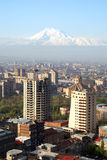 Yerevan city and Ararat Mount bird eye view. View on modern Yerevan from Drone Royalty Free Stock Photography