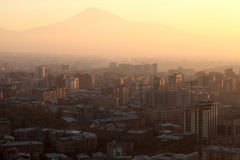 Yerevan city and Ararat mount. In the morning, Armenia Royalty Free Stock Images