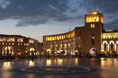 Yerevan, cuadrado de la república Fotos de archivo
