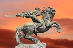 Yerevan, monument David of Sasun - hero of armenian epos. Sculpture depicting a rider and his war horse in a rapid burst of rush at the enemy Stock Photo