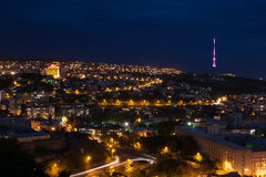 Yerevan at night. Night view of Yerevan, Armenia stock image