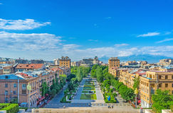 Yerevan from the top. The Cascade's levels are the best viewponts, overlooking Yerevan cityscape with the Ararat Mount, rising over the skyline, Armenia Stock Images
