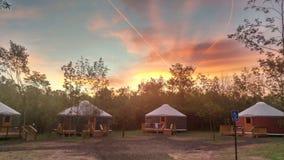 Yerts на американский летнего лагеря Стоковые Фотографии RF