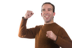 YES. A young man is cheering about something and looking very happy, isolated against a white background Stock Image