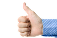 Yes!. A hand gesturing approvement, isolated on white stock photo